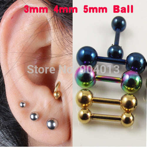 1pair (2pcs) Stainless Steel Round Bone Earring Black Silver Gold
