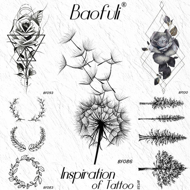 Baofuli Black Dandelion Temporary Tattoo Rose Wreath Geometric Waterproof Art Tattoos Arm Legs Fake Tatto Women Girls Body Arm