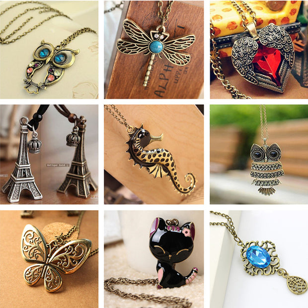 Vintage Necklaces Women Owl Feather Heart Butterfly Cat Pendant