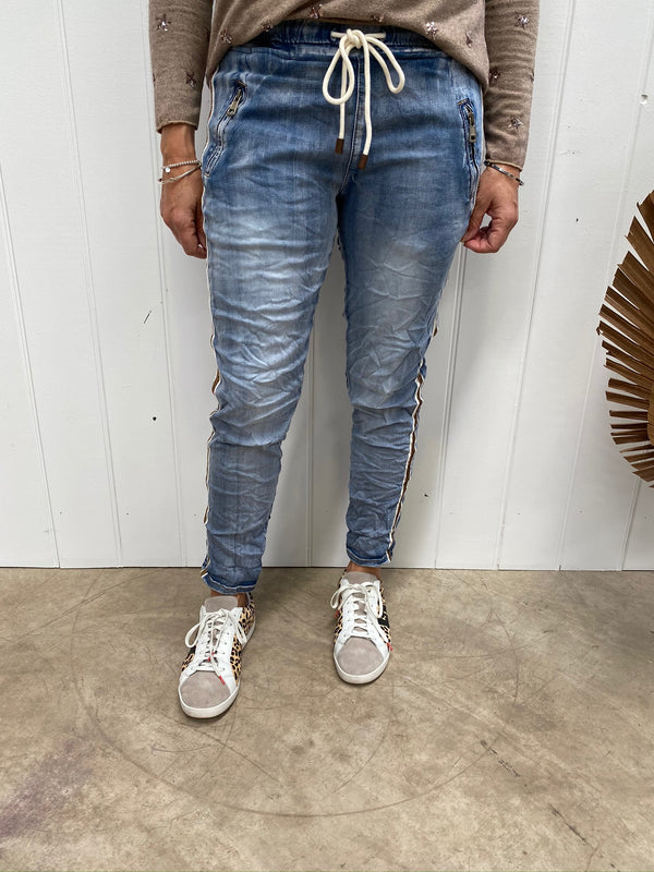 GOLD TRIM DENIM JOGGER