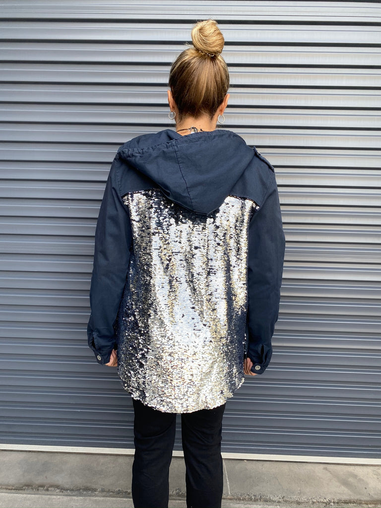 SEQUIN BACK JACKET  - BLUE