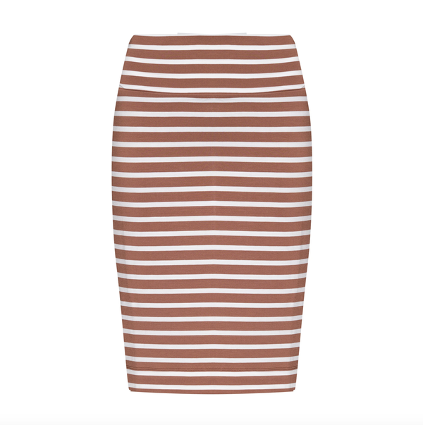 MIDI WHITNEY TUBE SKIRT - TOFFE & WHITE STRIPE