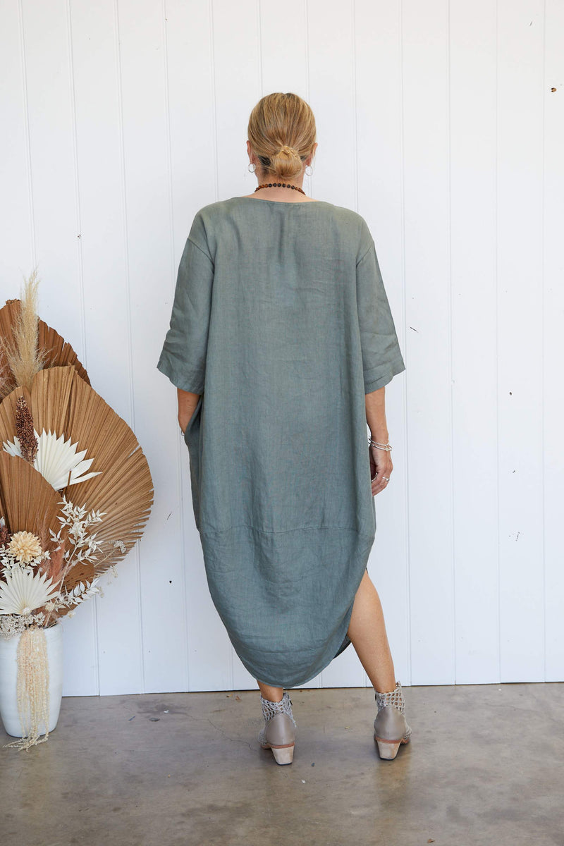 SCALLOP DRESS - KHAKI