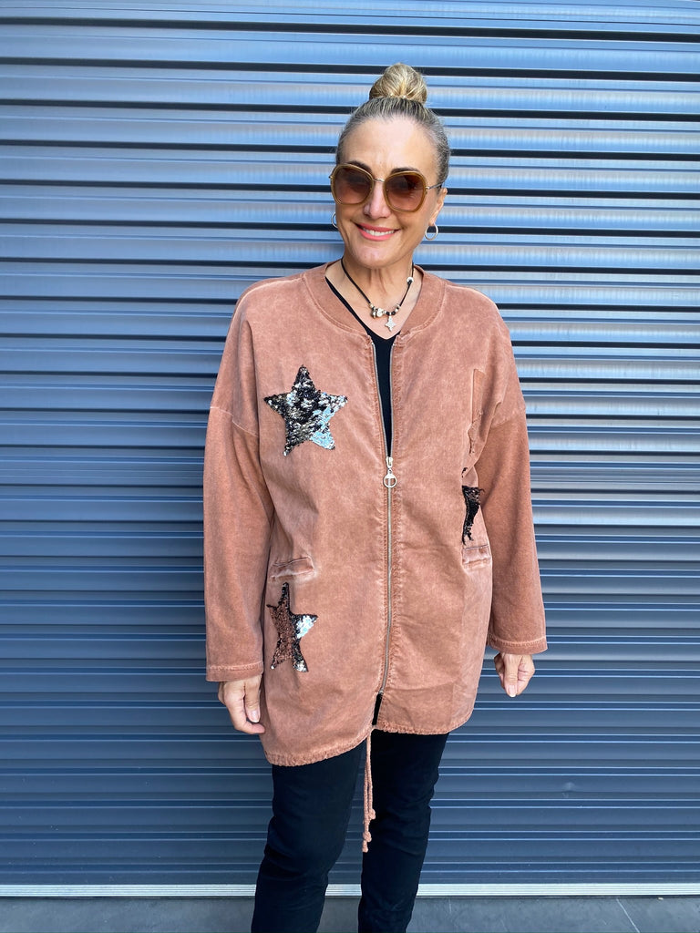 SEQUIN STAR BOMBER JACKET - RUST