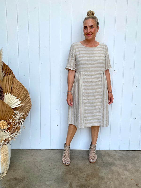 TAHLIA DRESS - NATURAL STRIPE