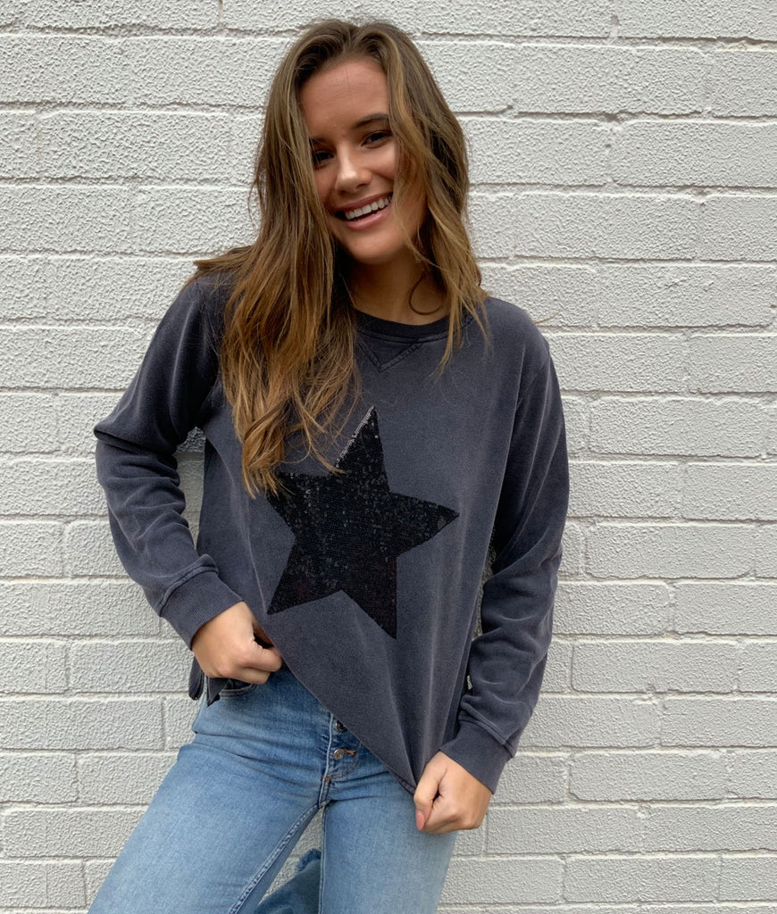 SWEAT - CHARCOAL SEQUIN STAR