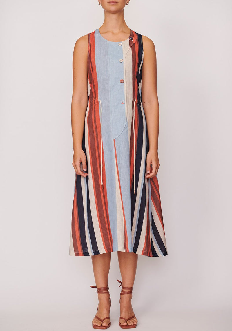 ANNA DRESS - SHUTTER STRIPE