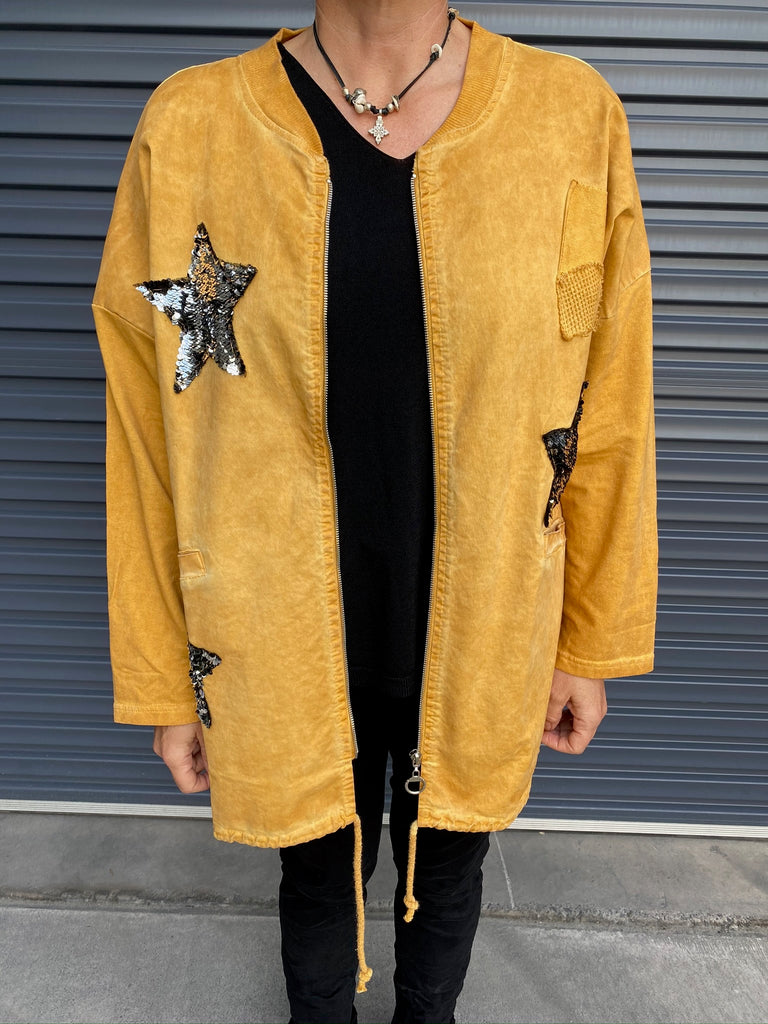 SEQUIN STAR BOMBER JACKET - SENAPE