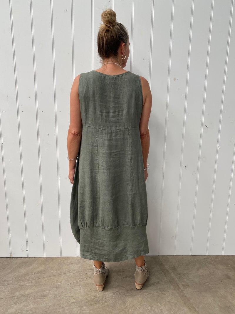 PINAFORE DRESS - KHAKI