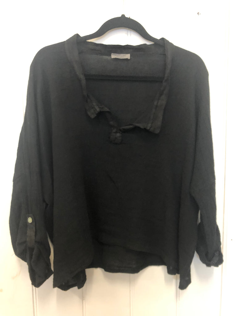 SONIA WEAVE TOP - BLACK