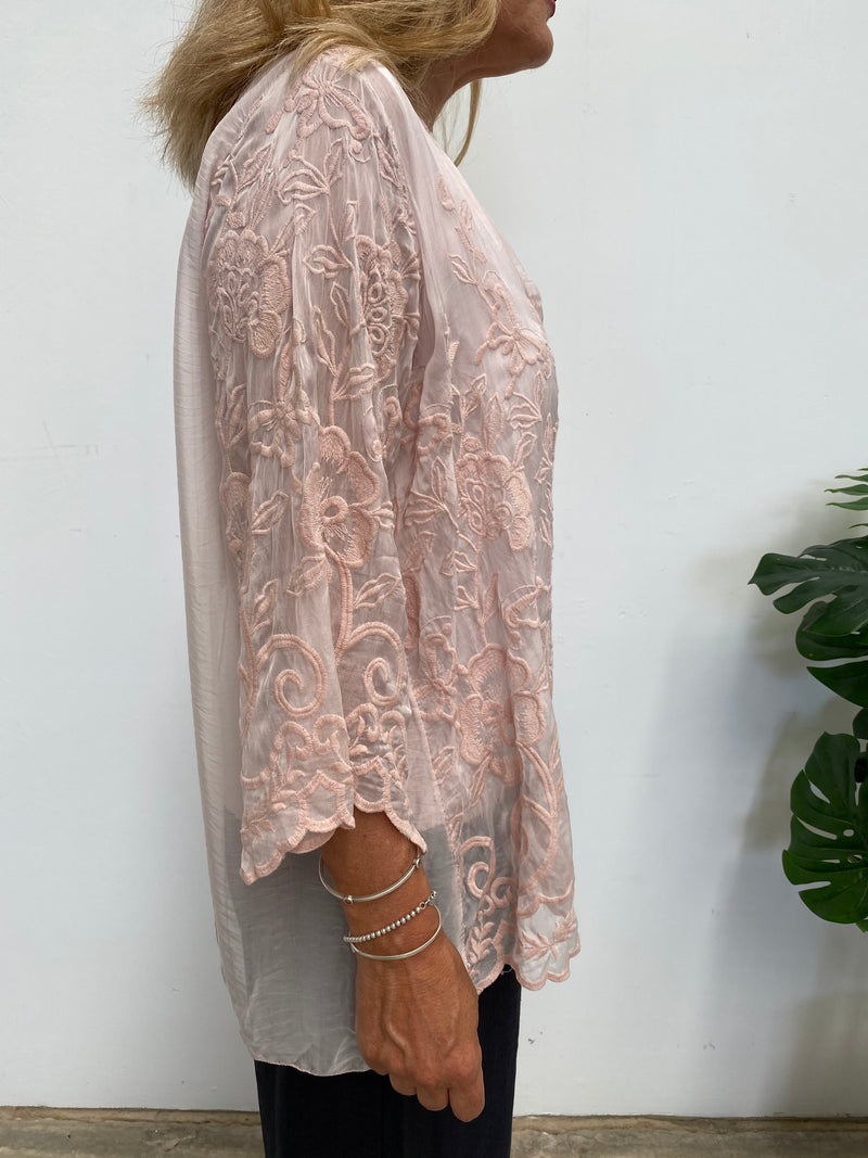SOPHIA EMBROIDERED SILK TOP - PINK