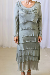 KACEE LONG SLEEVE DRESS - OLIVE