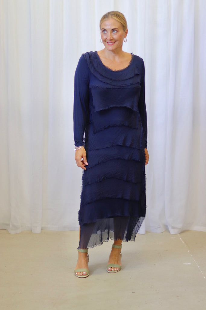 KACEE LONG SLEEVE DRESS - NAVY