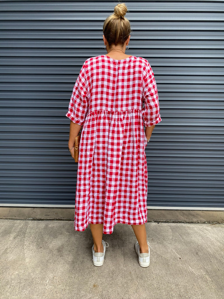 SARAH LINEN DRESS - RED & WHITE GINGHAM