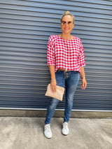JANE LINEN TOP - RED & WHITE GINGHAM