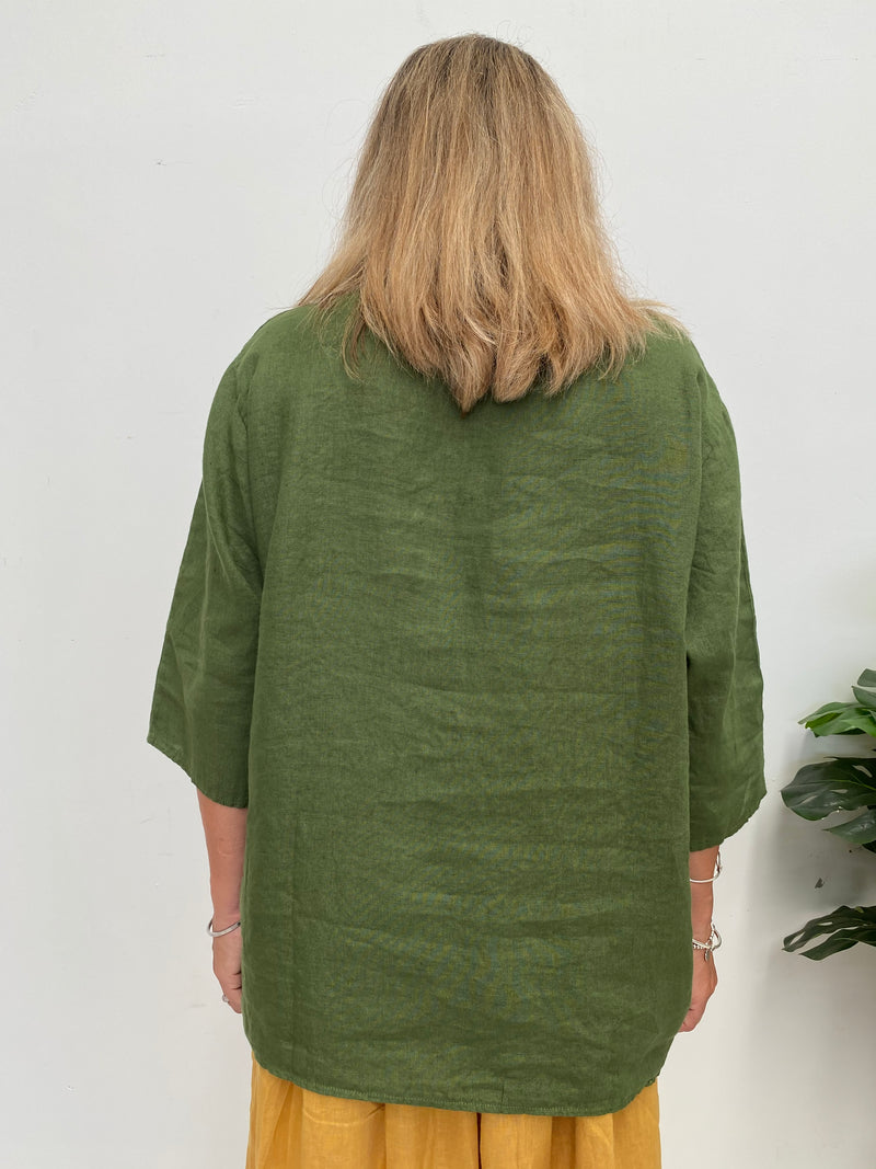 ANGELA TOP - FOREST GREEN