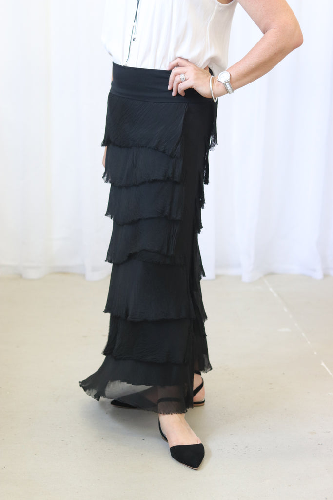 AVA SILK FRILL SKIRT - BLACK