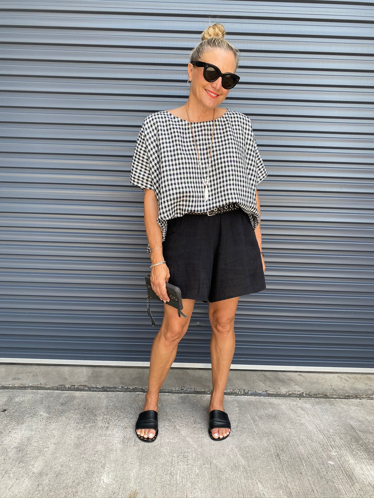 HINLEY TOP - BLACK GINGHAM