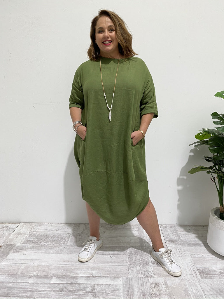 SCALLOP DRESS - FOREST