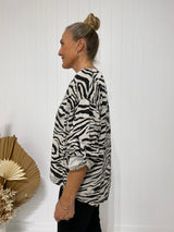 CATERINA ZEBRA TOP - BEIGE