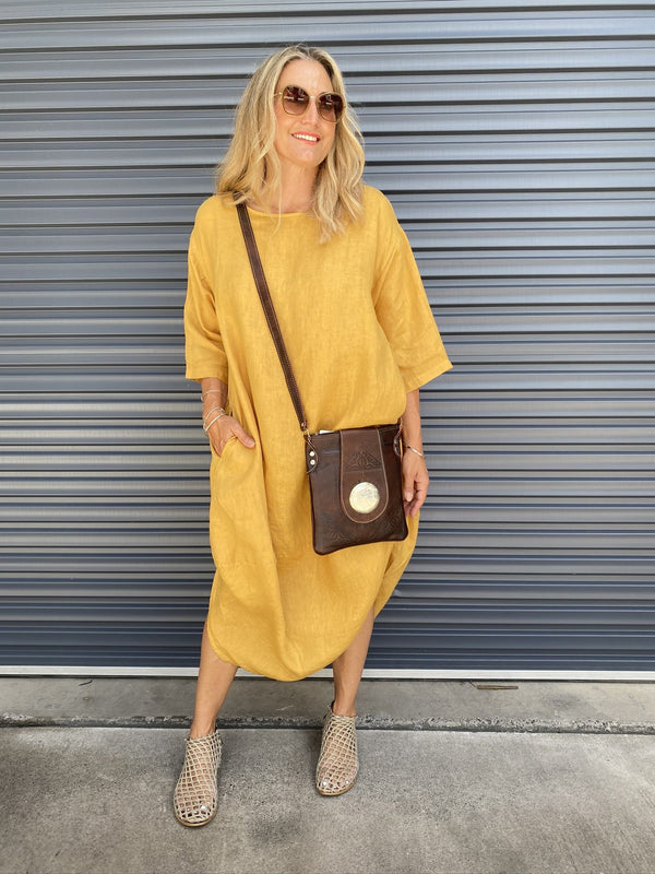 SCALLOP DRESS - MUSTARD
