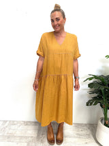 WILLOW TIERED DRESS - MUSTARD