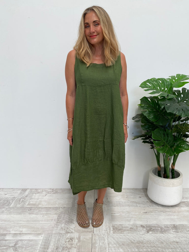 PINAFORE DRESS - FOREST GREEN