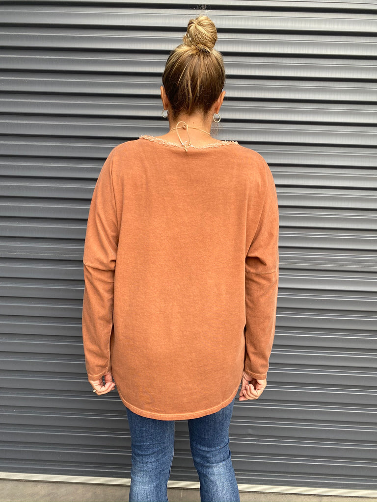 CATALINA VNECK TOP - RUST