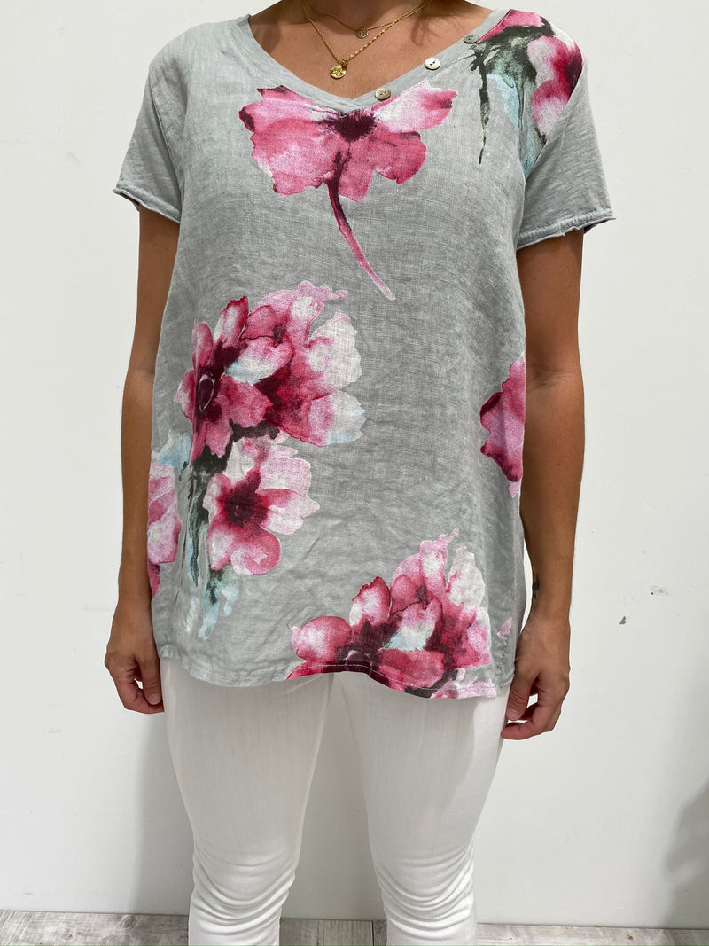 FLORENCE FLORAL TOP - SILVER