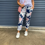 FLORAL PANT - NAVY (8-16)