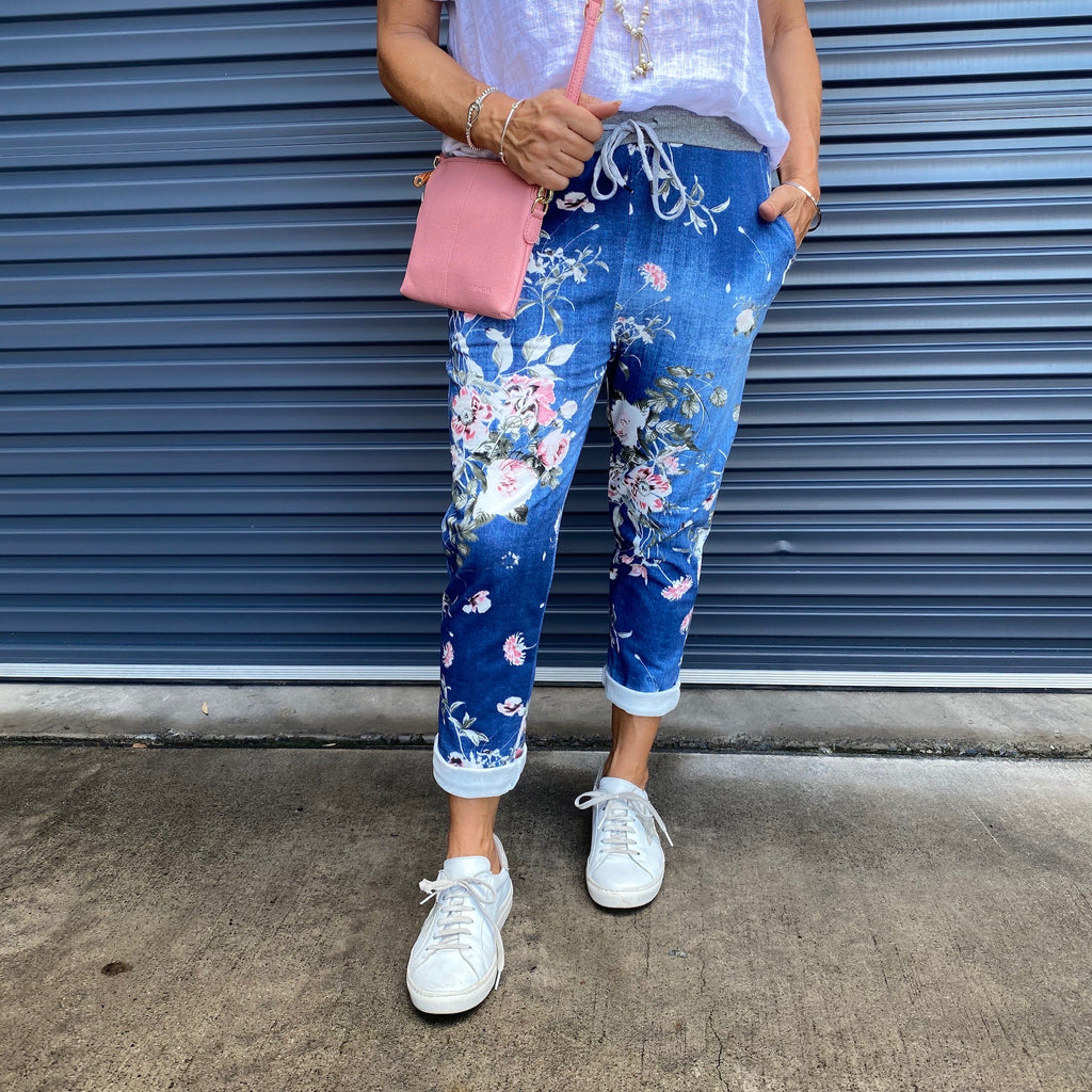 FLORAL PANTS - DENIM