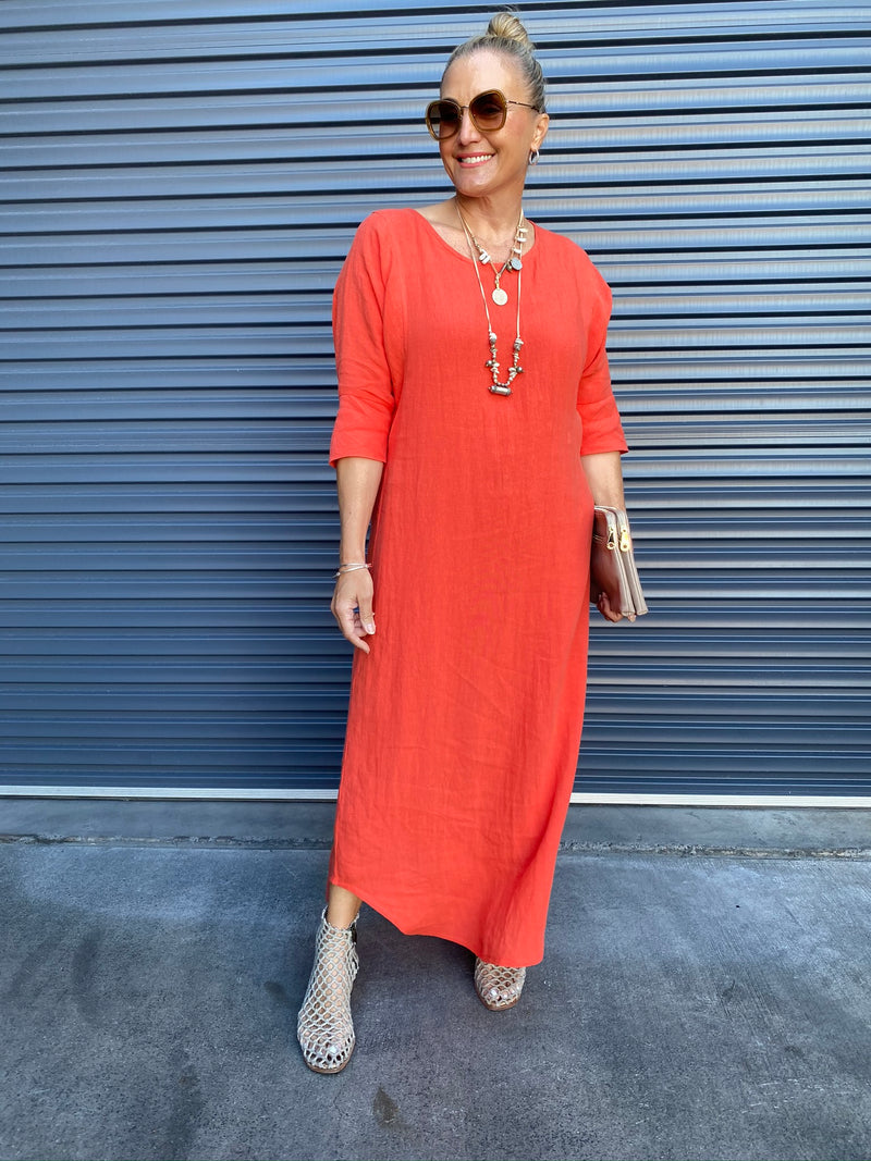 ST PAULS DRESS MAXI - TANGERINE