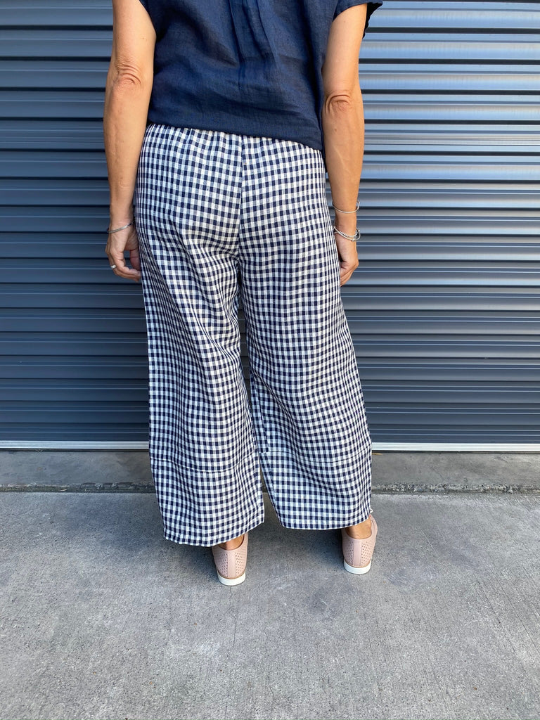 PEARCE PANT - NAVY GINGHAM