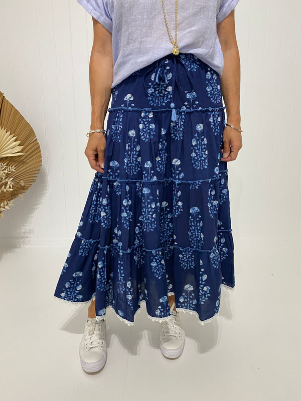 TIERED SKIRT PROVENCE PRINT - NAVY