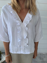 MARTY FRILL TOP 1/2 SLEEVE - WHITE