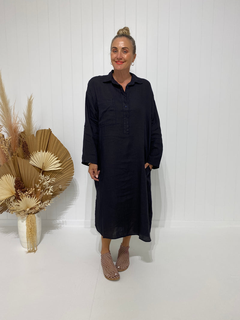 BIARRITZ SHIRT DRESS - FRENCH NAVY