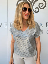 STAR AND SEQUIN VNECK - GREY