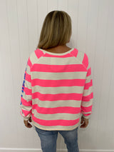 RAW HEM SWEAT - PINK STRIPE