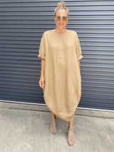 SCALLOP DRESS - CAMMELLO
