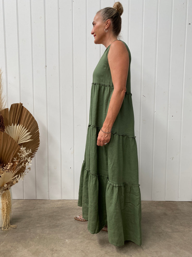 SERENA LINEN DRESS - KHAKI