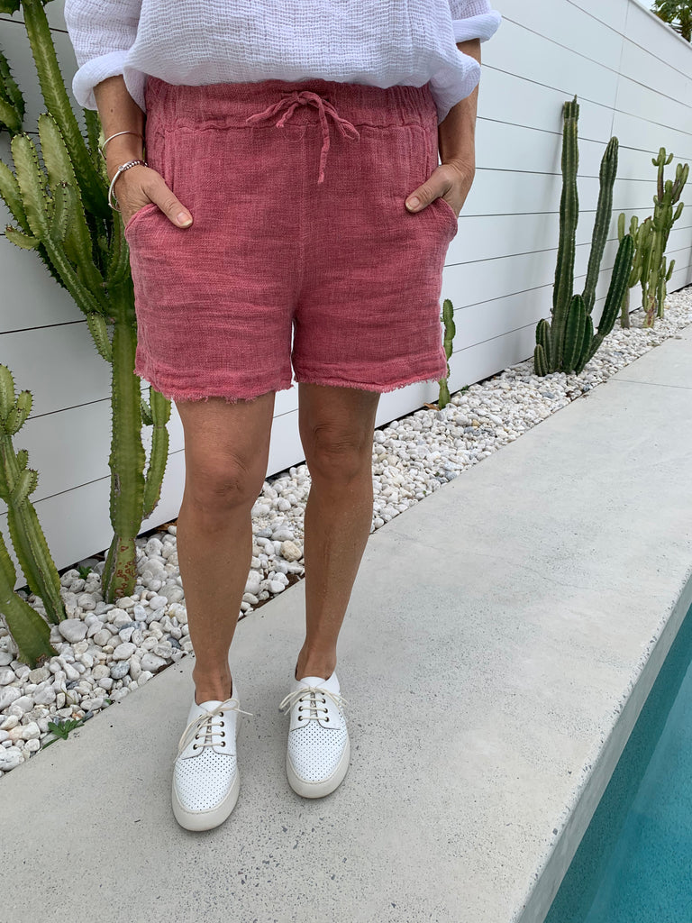 VINTAGE WASH LINEN SHORTS - SUGAR POP