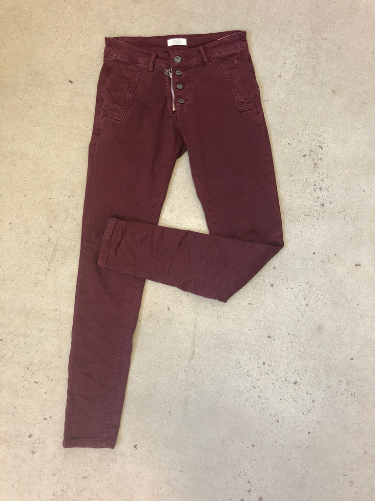 BUTTON JEAN - BURGUNDY