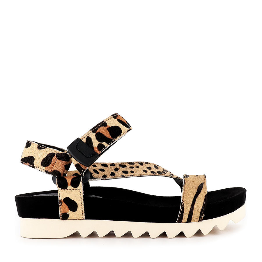 SANDAL TOOTH WEDGE - SAFARI