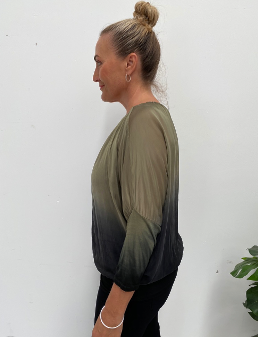 TWO TONE SILK TOP - OLIVE