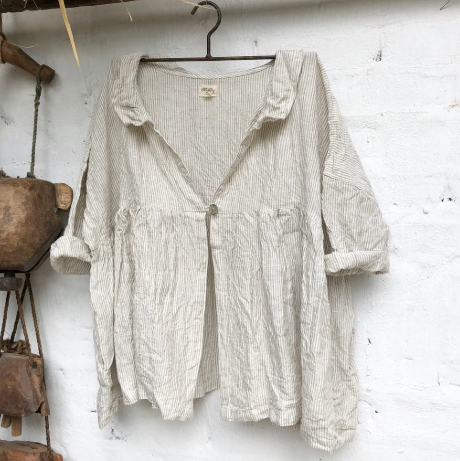 ABELLA LINEN JACKET - NATURAL & WHITE STRIPE
