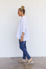 HINLEY TOP SLEEVED - WHITE GAUZE