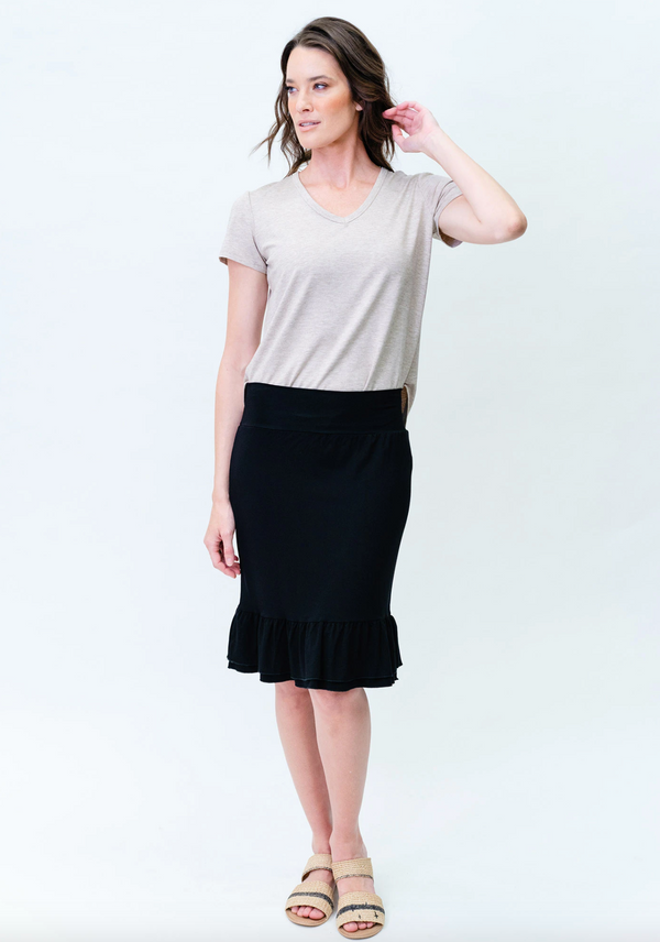 KATY FRILL MIDI SKIRT - BLACK