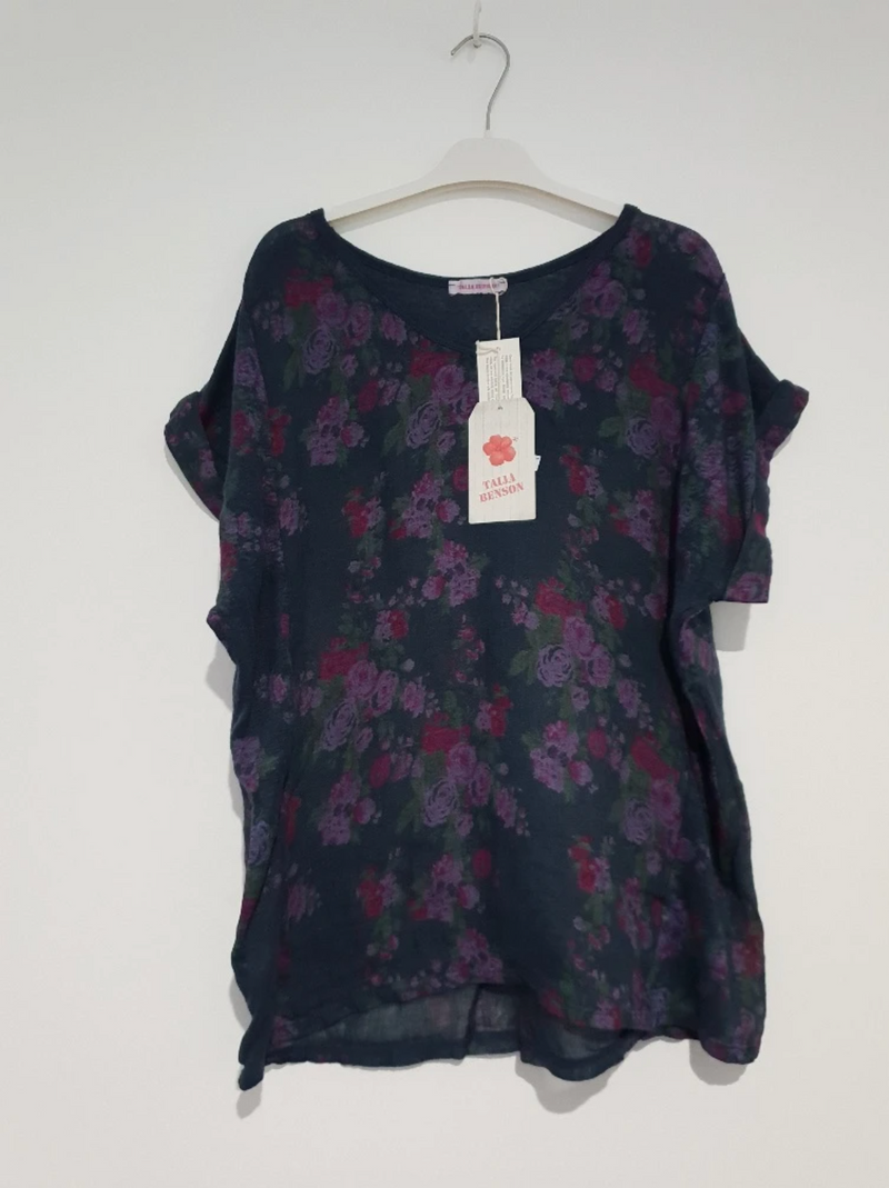 NO BAND LINEN TEE - NAVY FLORAL