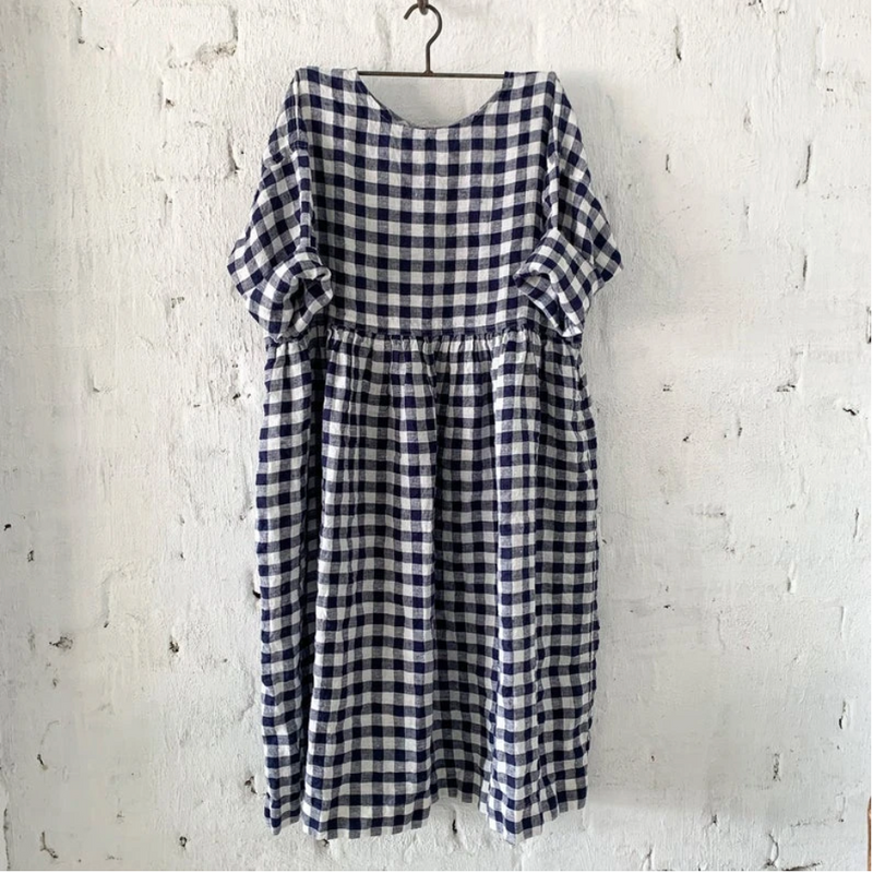 SARAH LINEN DRESS - NAVY & WHITE GINGHAM