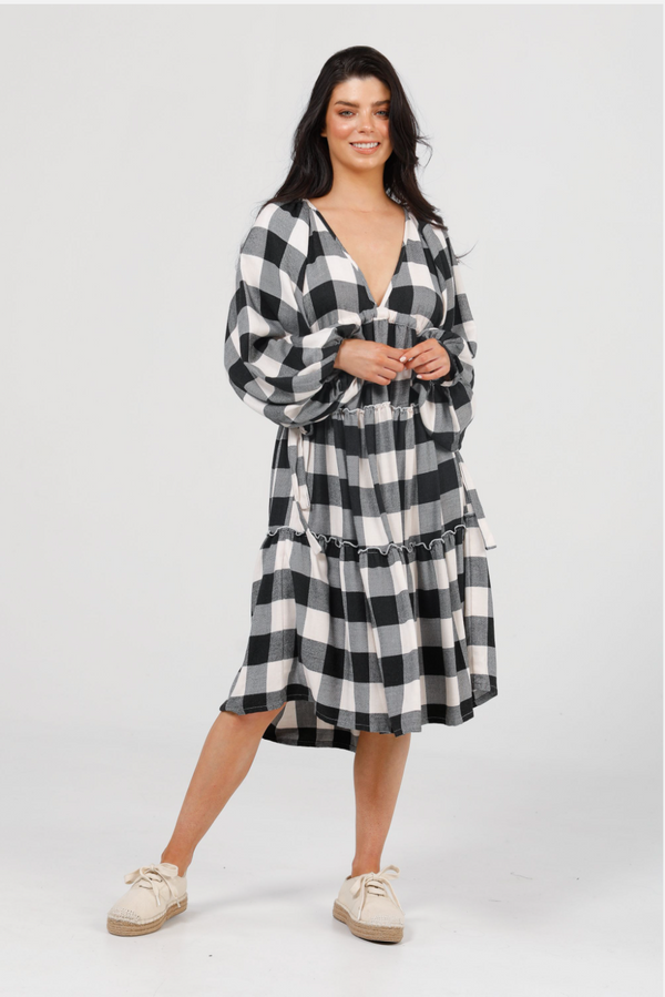 WING AND A PRAYER DRESS -BLACK & WHITE CHECK